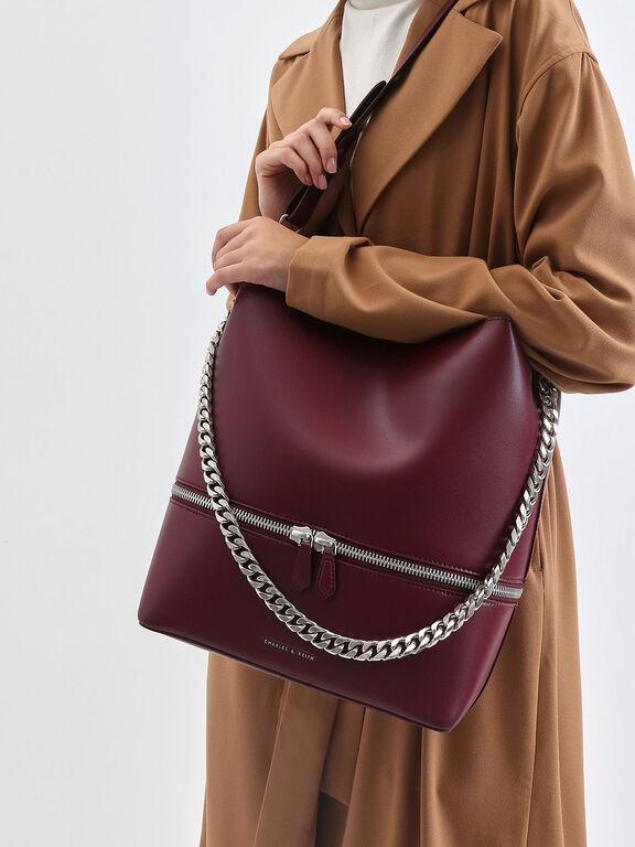 Two-Way Zip Hobo Bag, Burgundy, hi-res