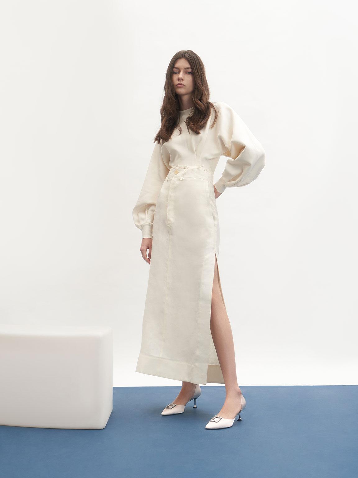 Wedding Collection: Satin Gem-Embellished D'Orsay Pumps, Cream, hi-res