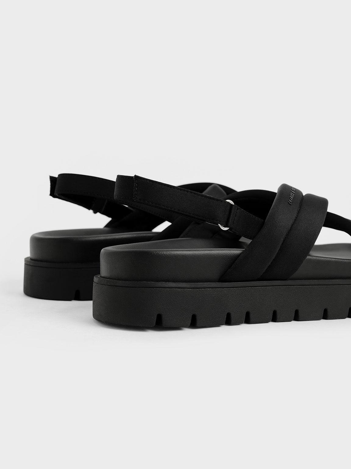 環保聚酯纖維交叉涼鞋, 黑色, hi-res