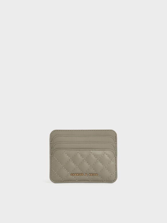 Quilted Card Holder, Taupe, hi-res