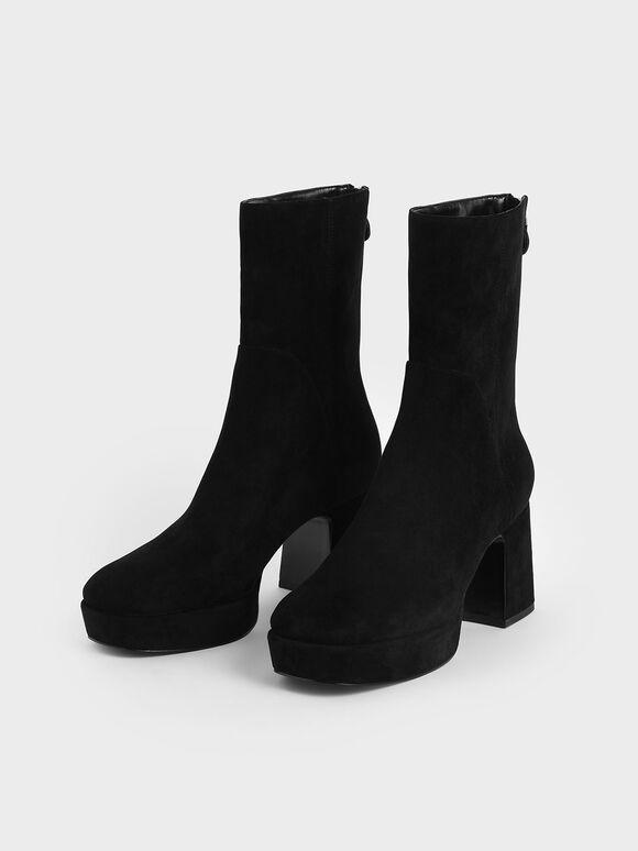 Textured Platform Ankle Boots, Black, hi-res