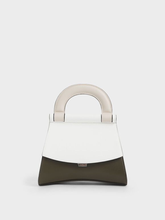 Two-Tone Top Handle Bag, White, hi-res