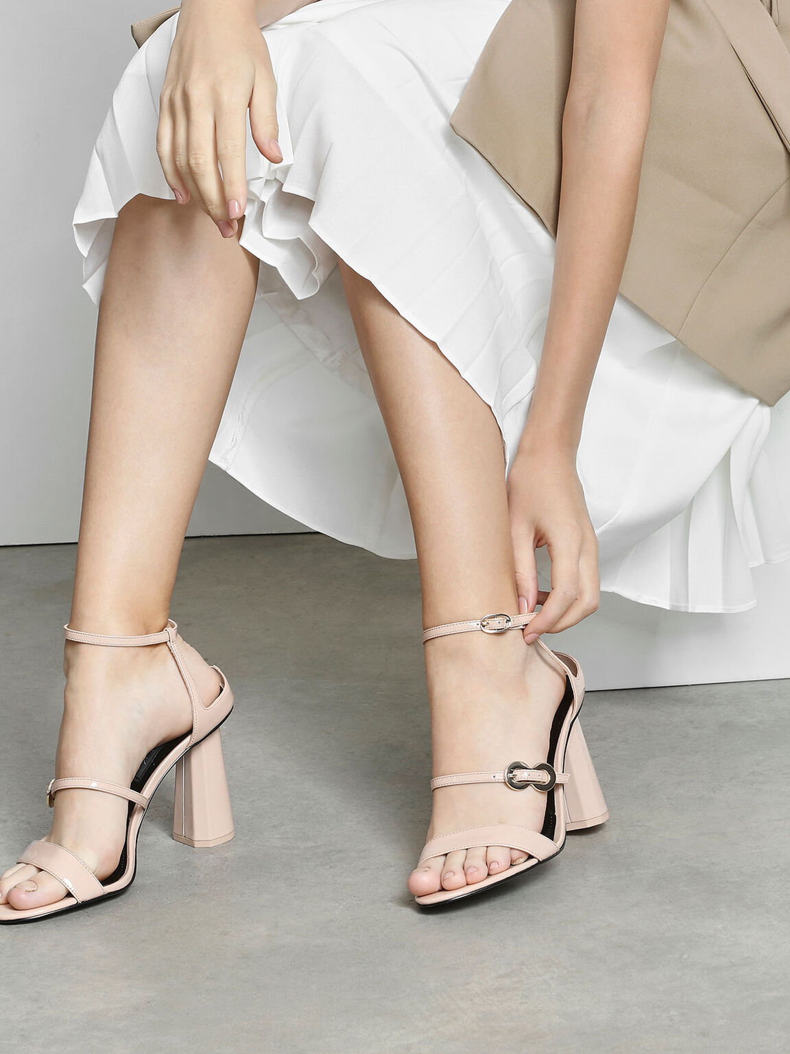Leather Infinity Buckle Open Toe Sandals, Nude, hi-res