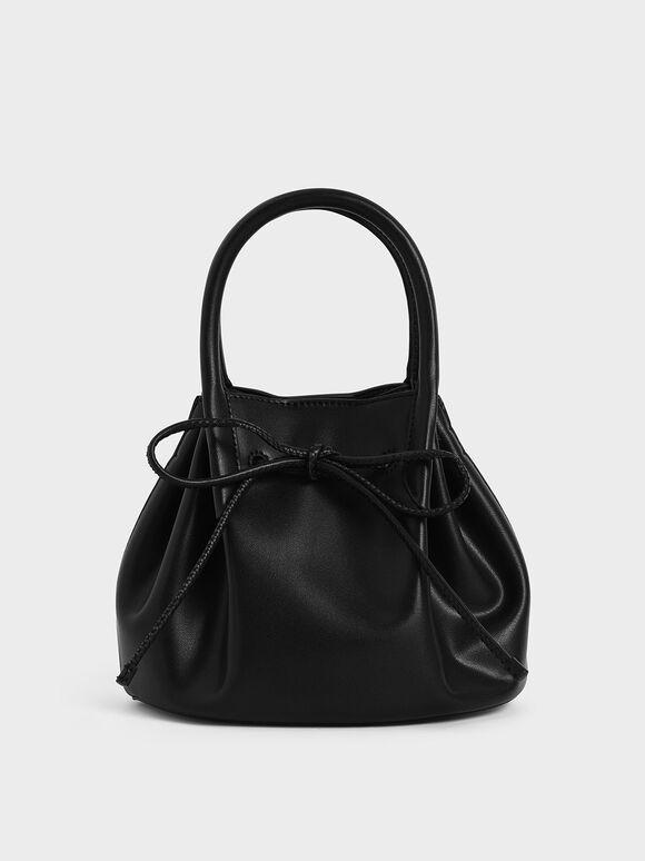 Drawstring Top Handle Bag, Black, hi-res