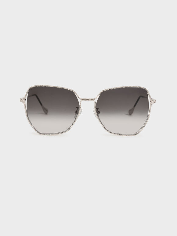 Metal Frame Butterfly Sunglasses, Silver, hi-res