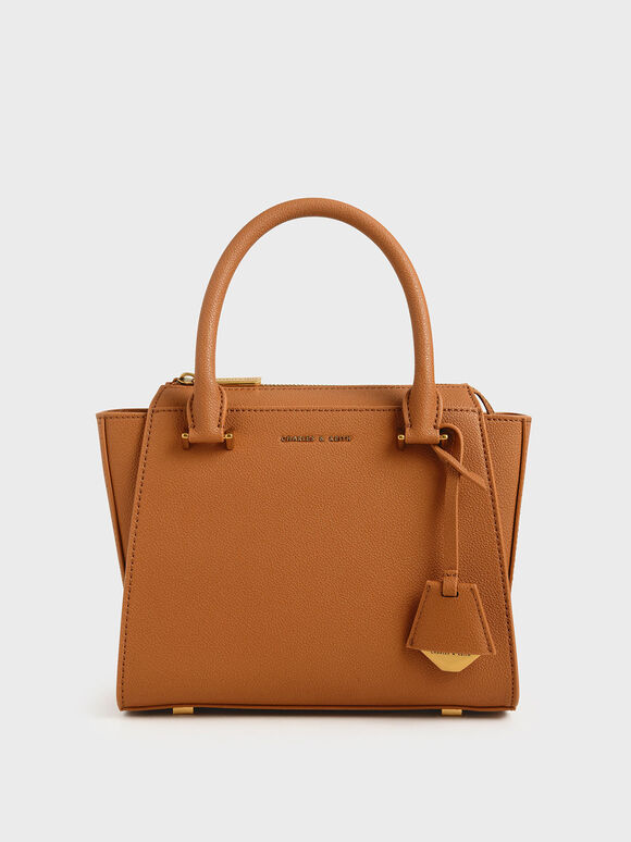 Structured Trapeze Bag, Cognac, hi-res