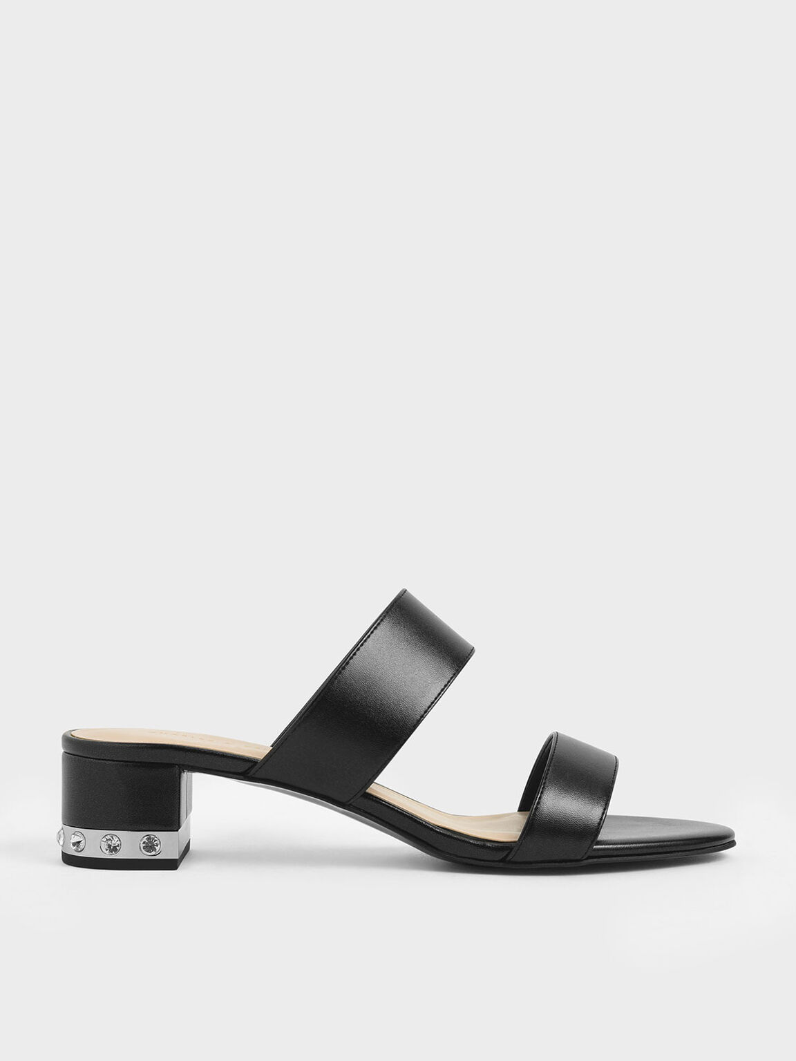 Embellished Block Heel Metallic Slide Sandals, Black, hi-res