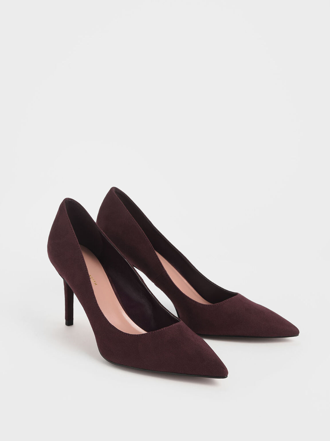 Classic Textured Pointed Toe Pumps, Burgundy, hi-res