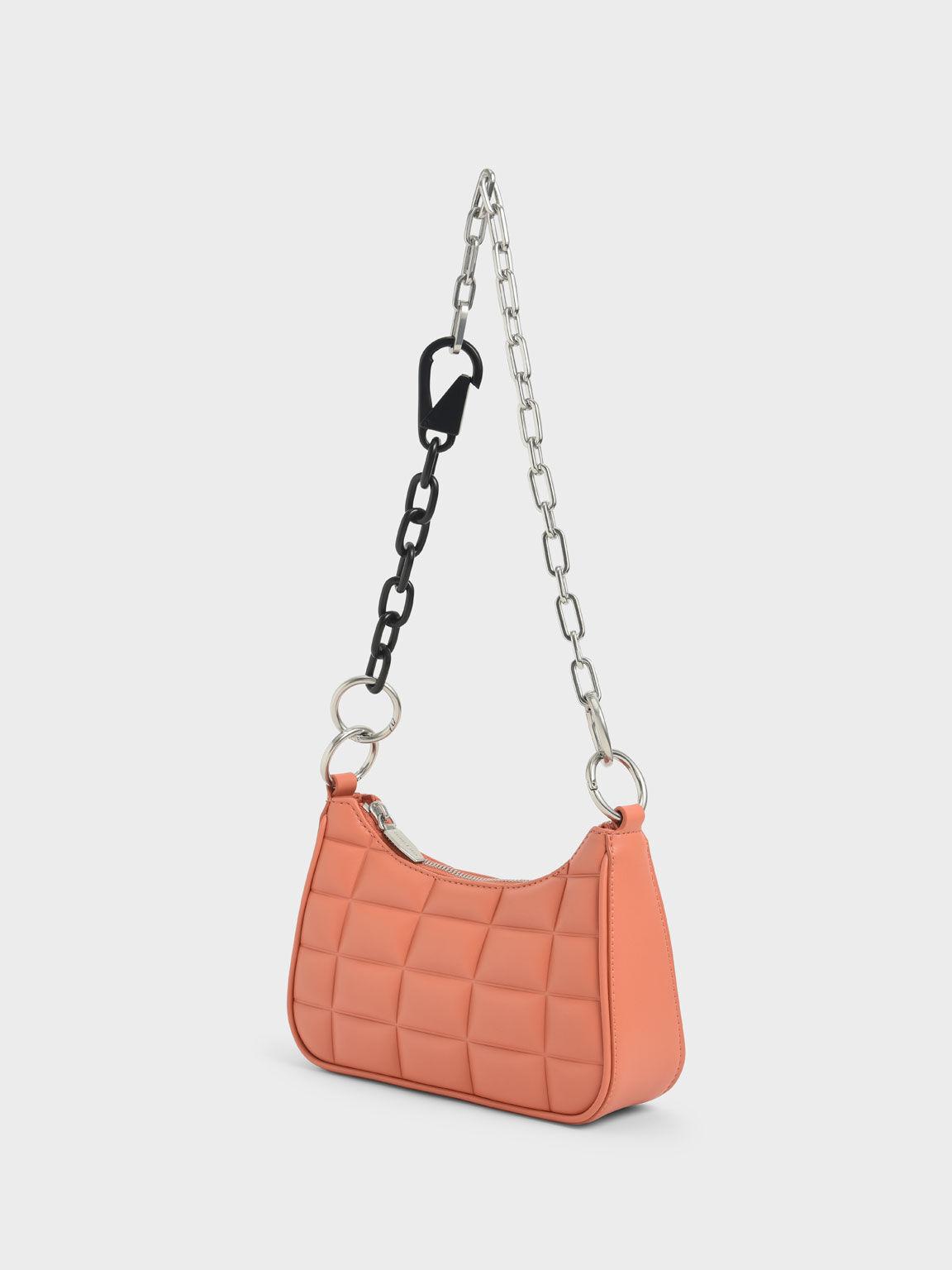 Quilted Chain Shoulder Bag, Orange, hi-res