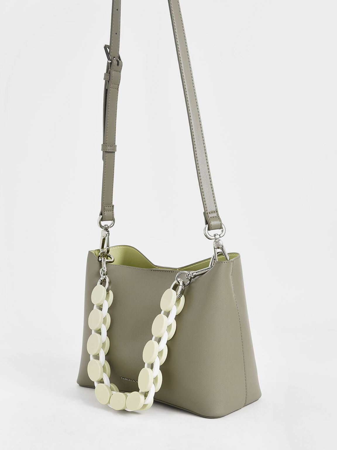 Acrylic Handle Bucket Bag, Grey, hi-res