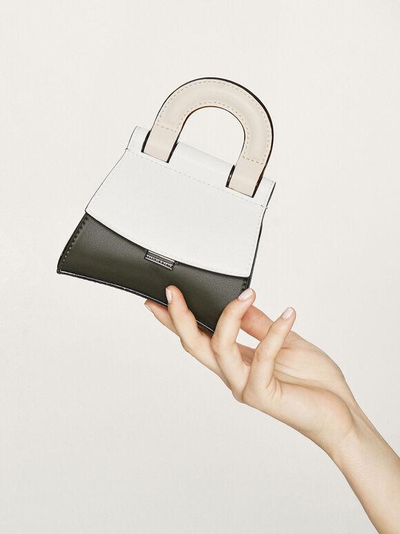 Mini Two-Tone Top Handle Pouch Bag, White, hi-res