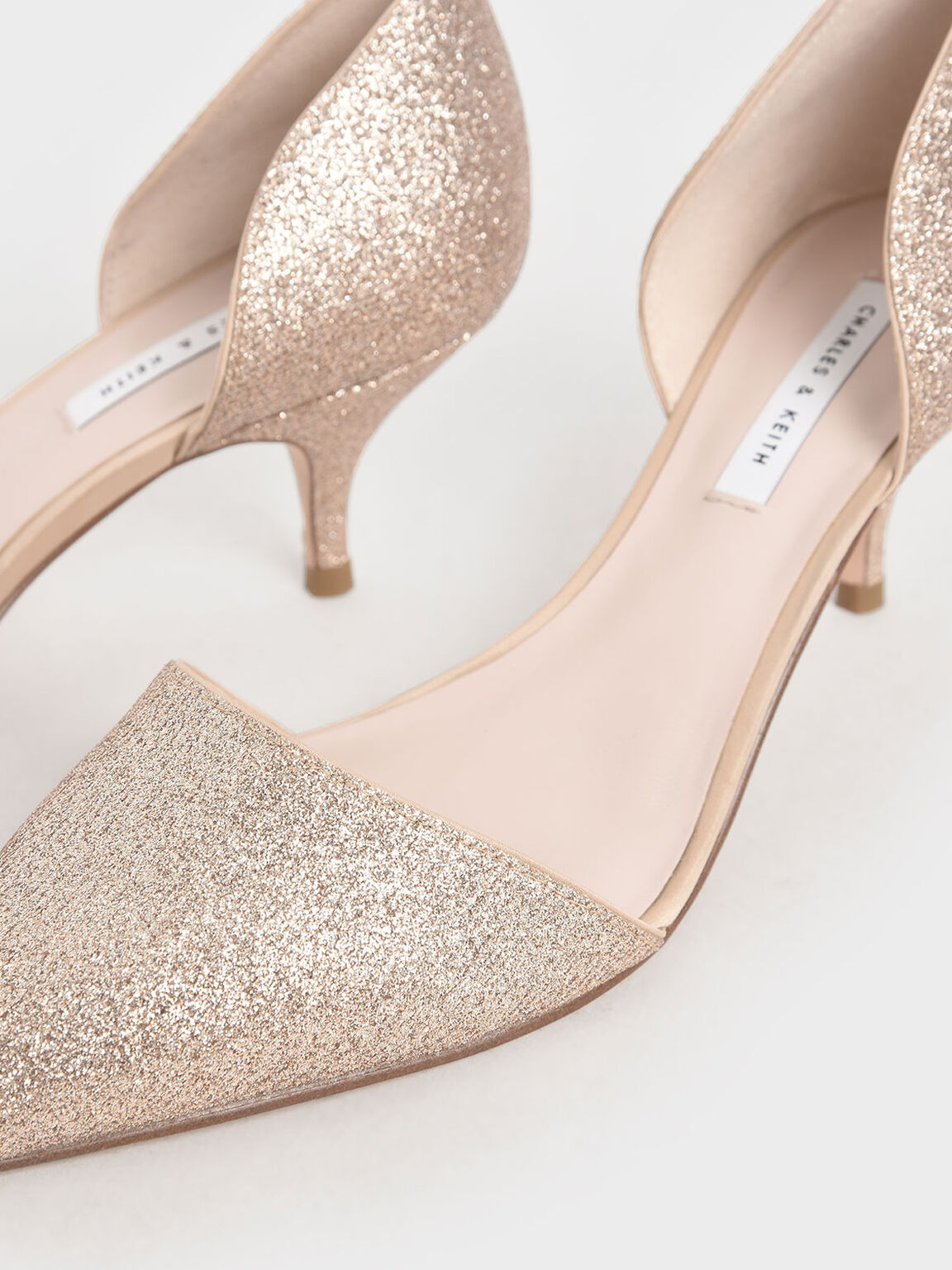 D'Orsay Glitter Fabric Kitten Heel Pumps, Gold, hi-res