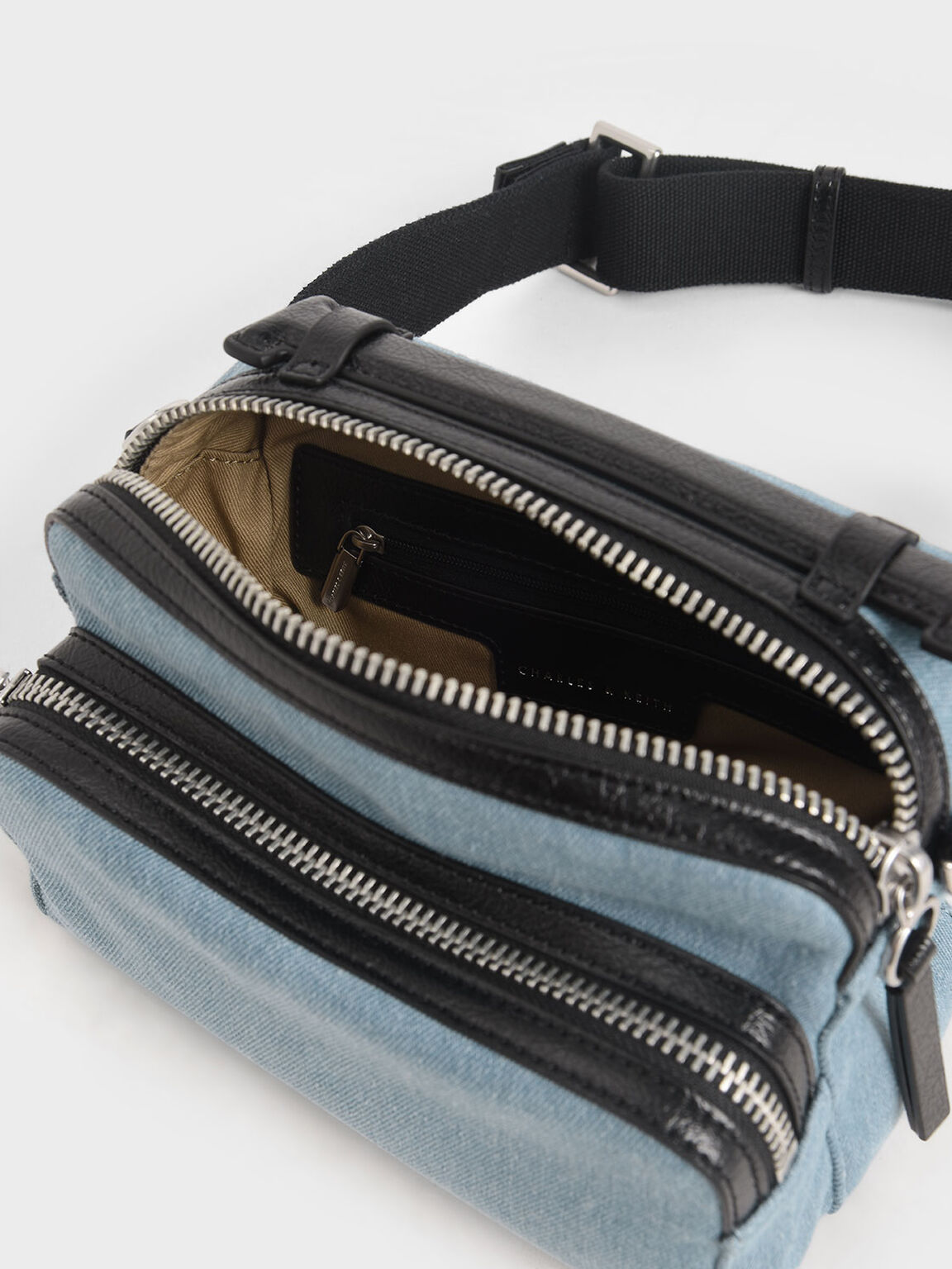 Textured Double Zip Bag, Denim Blue, hi-res