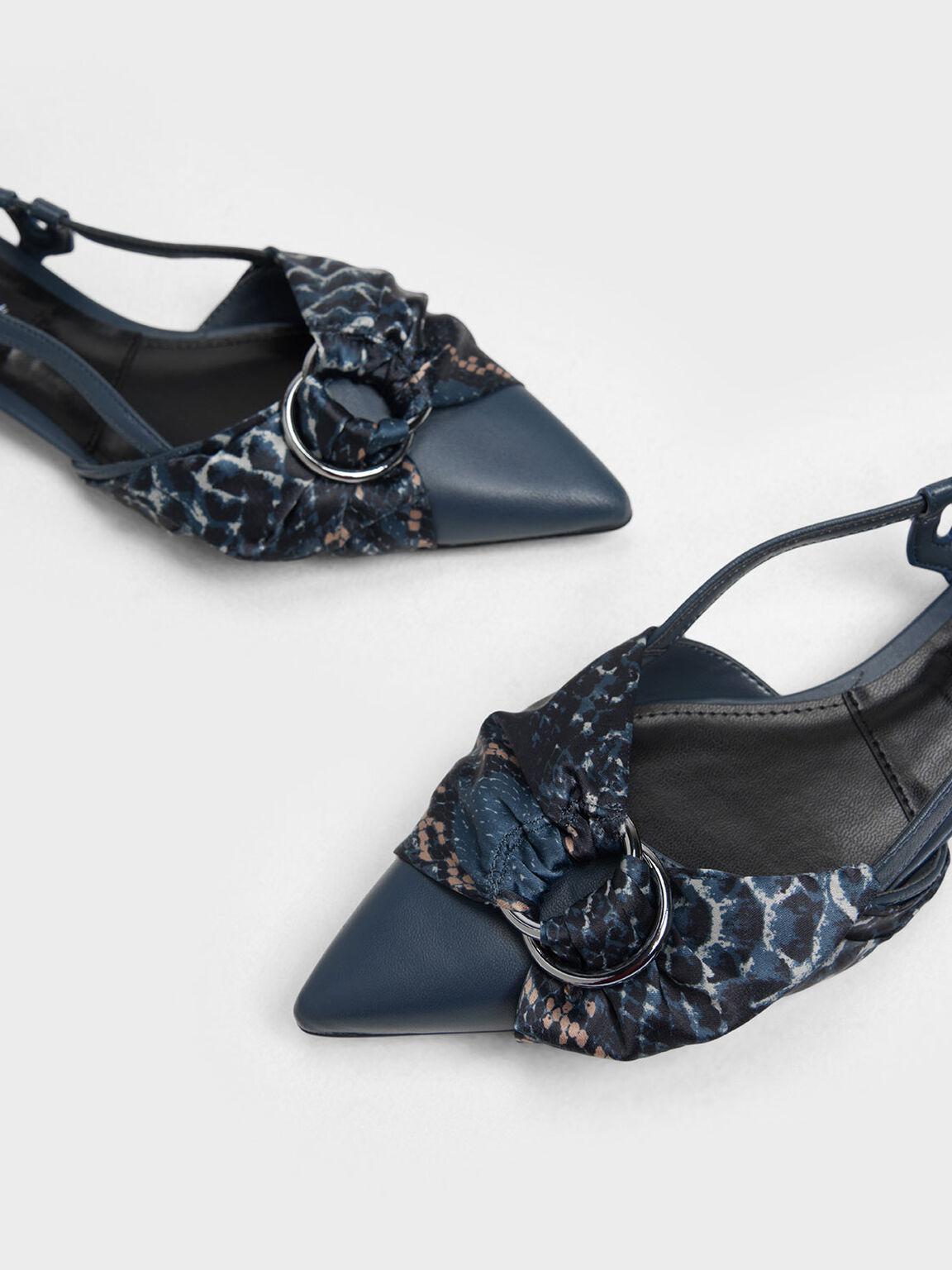 Ring Detail Snake Print Fabric Leather Slingback Flats, Blue, hi-res