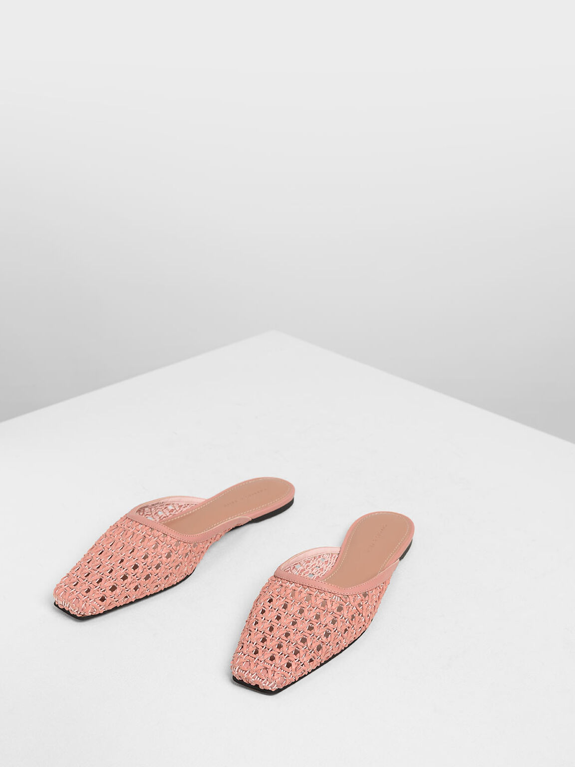 Woven Square Toe Mules, Blush, hi-res