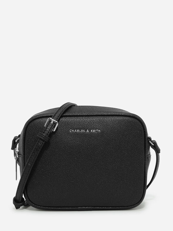 Curved Boxy Sling Bag, Black, hi-res