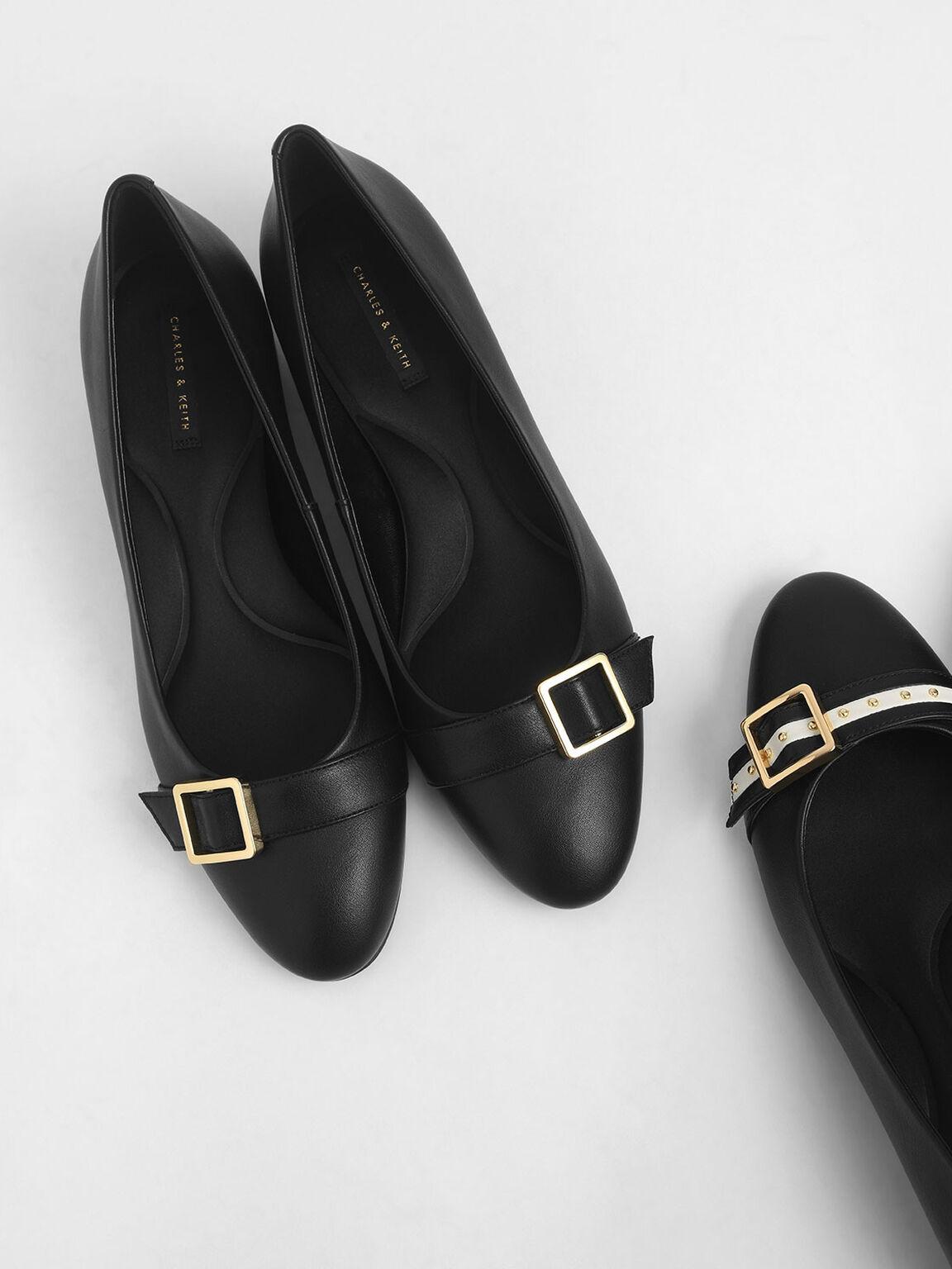 方扣粗跟鞋, 黑色, hi-res