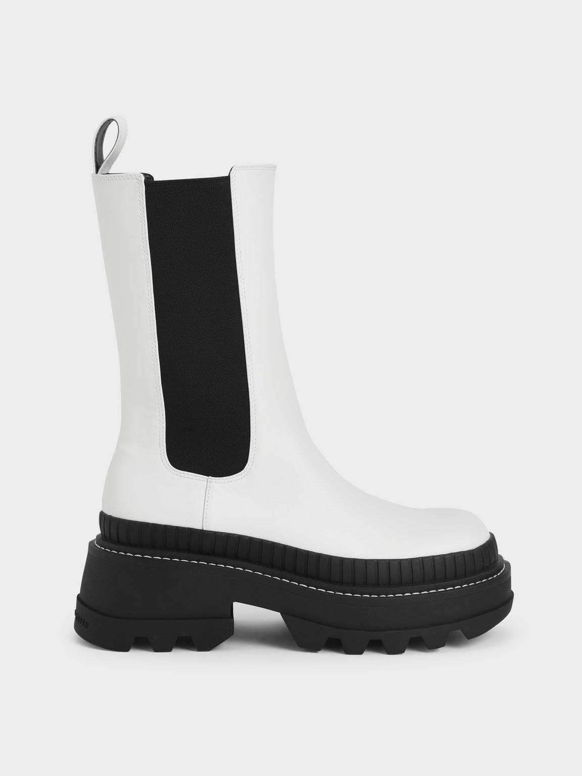 Rhys 厚底切爾西靴, 白色, hi-res