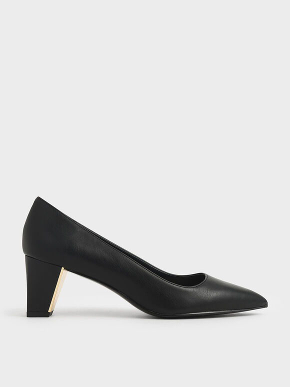 Chunky Heel Pumps, Black, hi-res