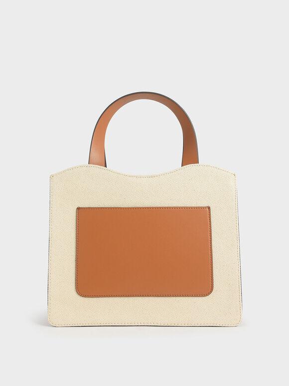 Front Pocket Double Top Handle Bag, Cognac, hi-res