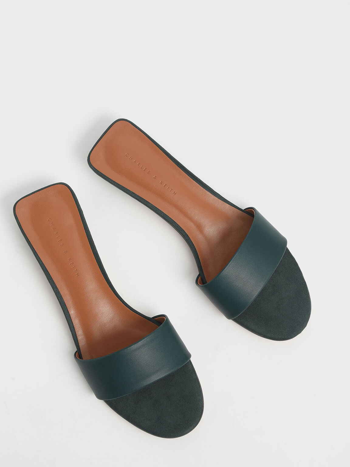 Stacked Heel Slide Sandals, Dark Green, hi-res