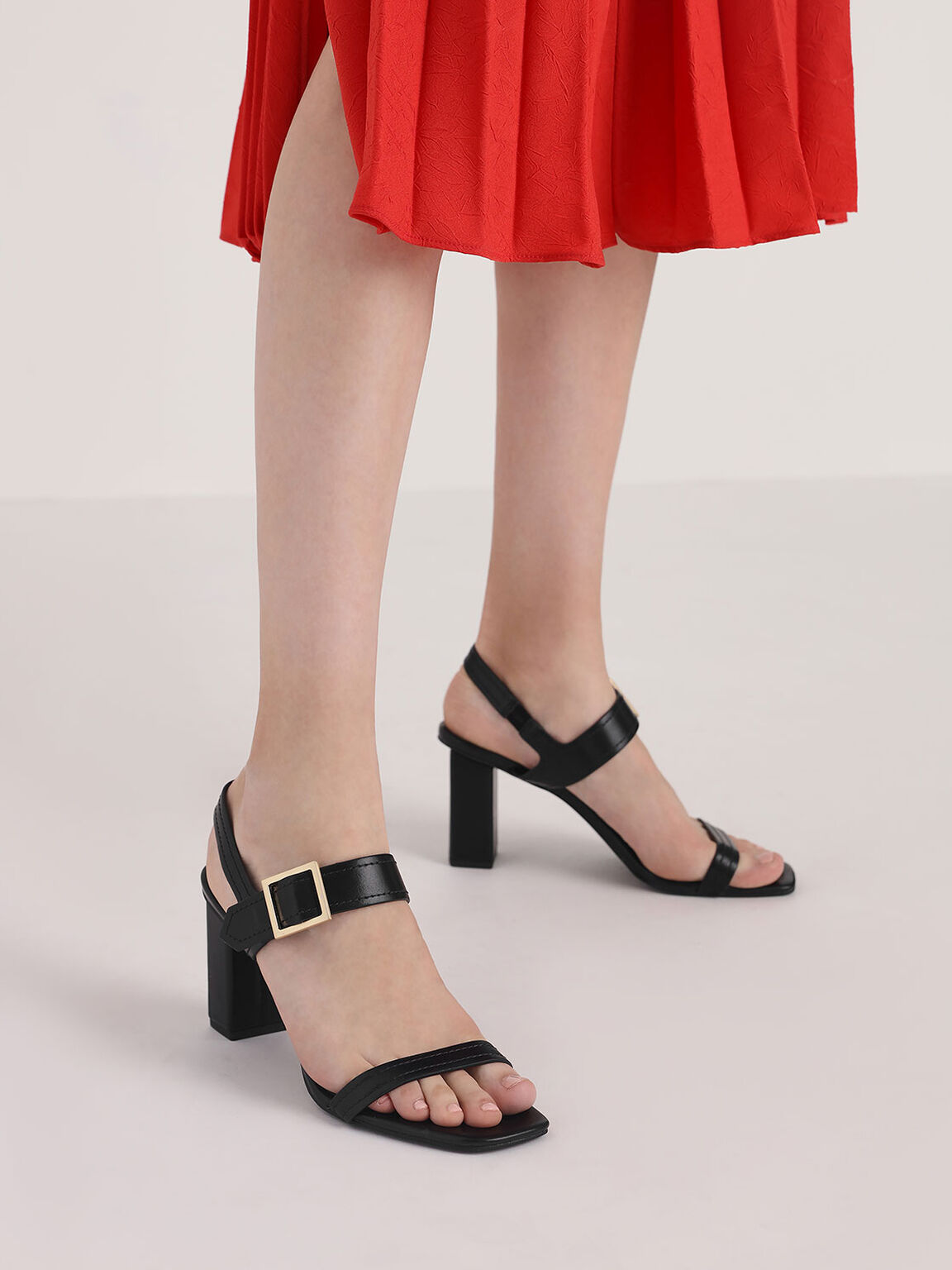 Buckle Detail Block Heel Sandals, Black, hi-res