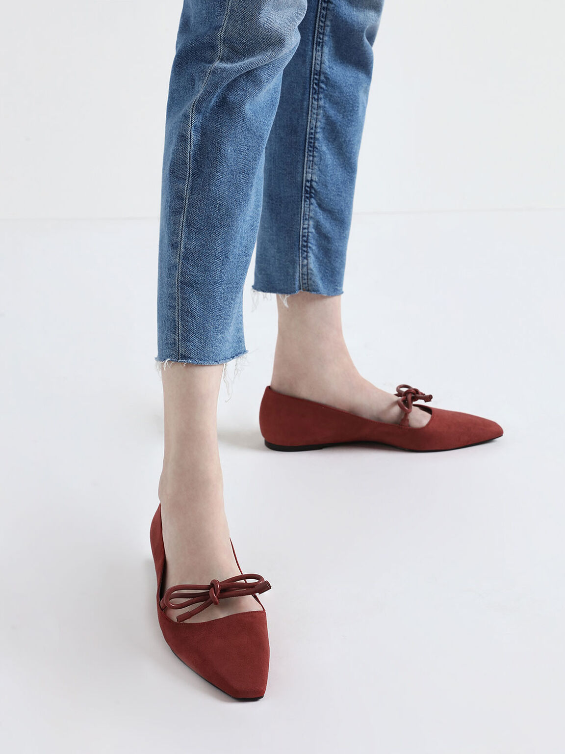 Textured Mini Square Toe Bow Strap Ballerina Flats, Brick, hi-res