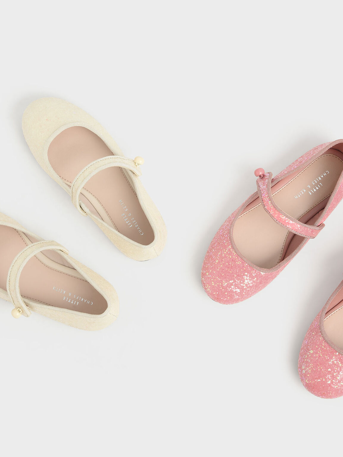 Girls' Glitter Mary Jane Flats, Beige, hi-res