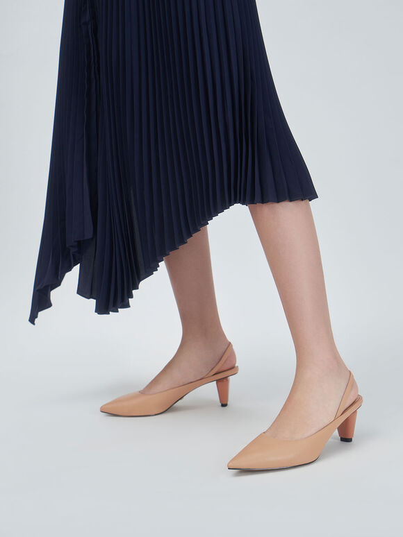 真皮後踝帶跟鞋, 膚色, hi-res