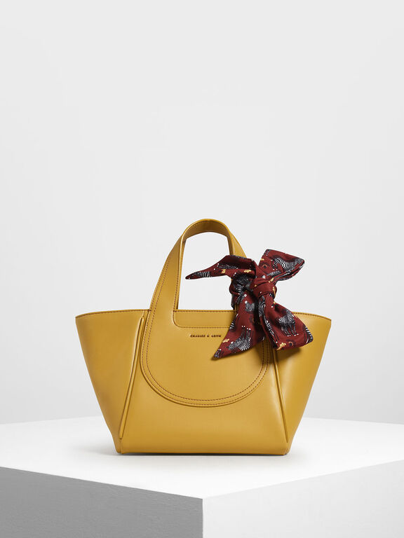 Printed Bow Trapeze Bag, Yellow