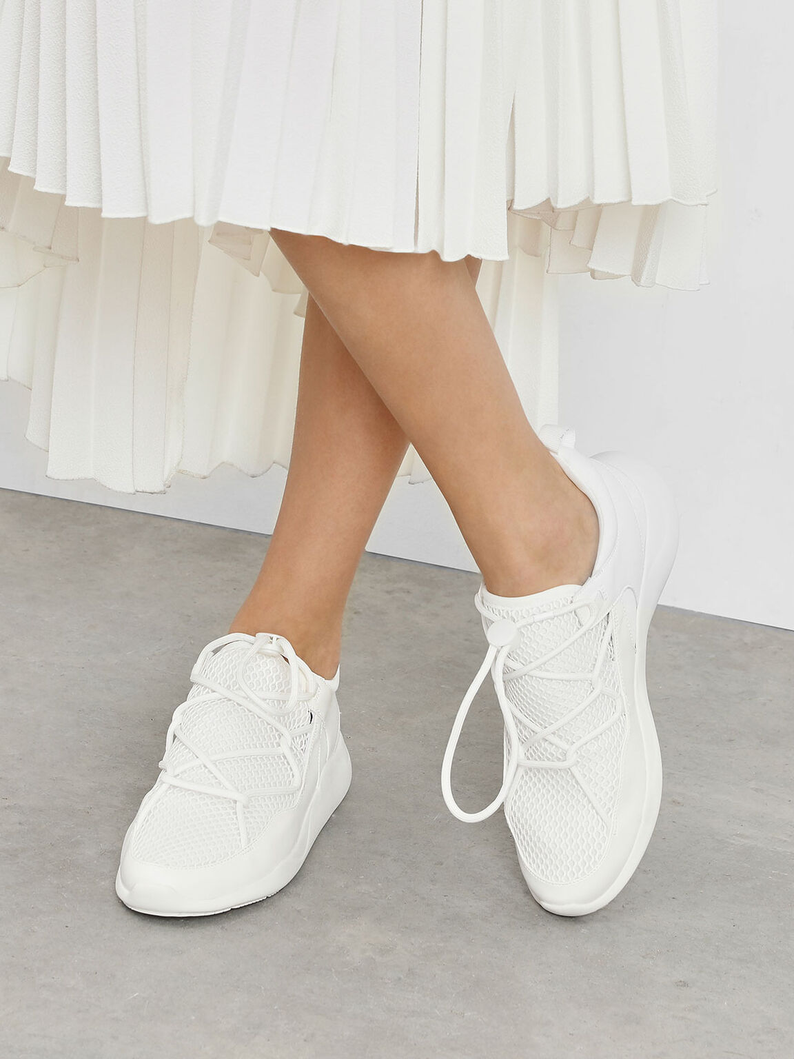 Drawstring Mesh Sneakers, White, hi-res
