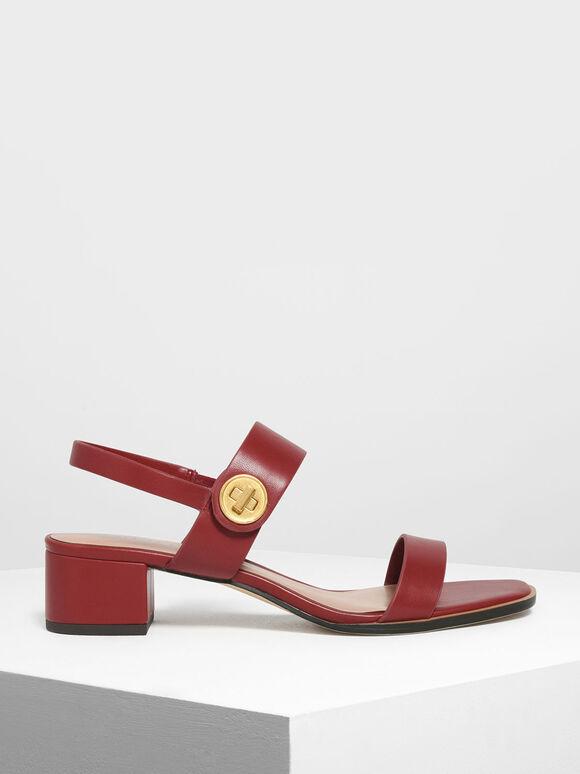 Open Toe Midi Block Heels, Red, hi-res