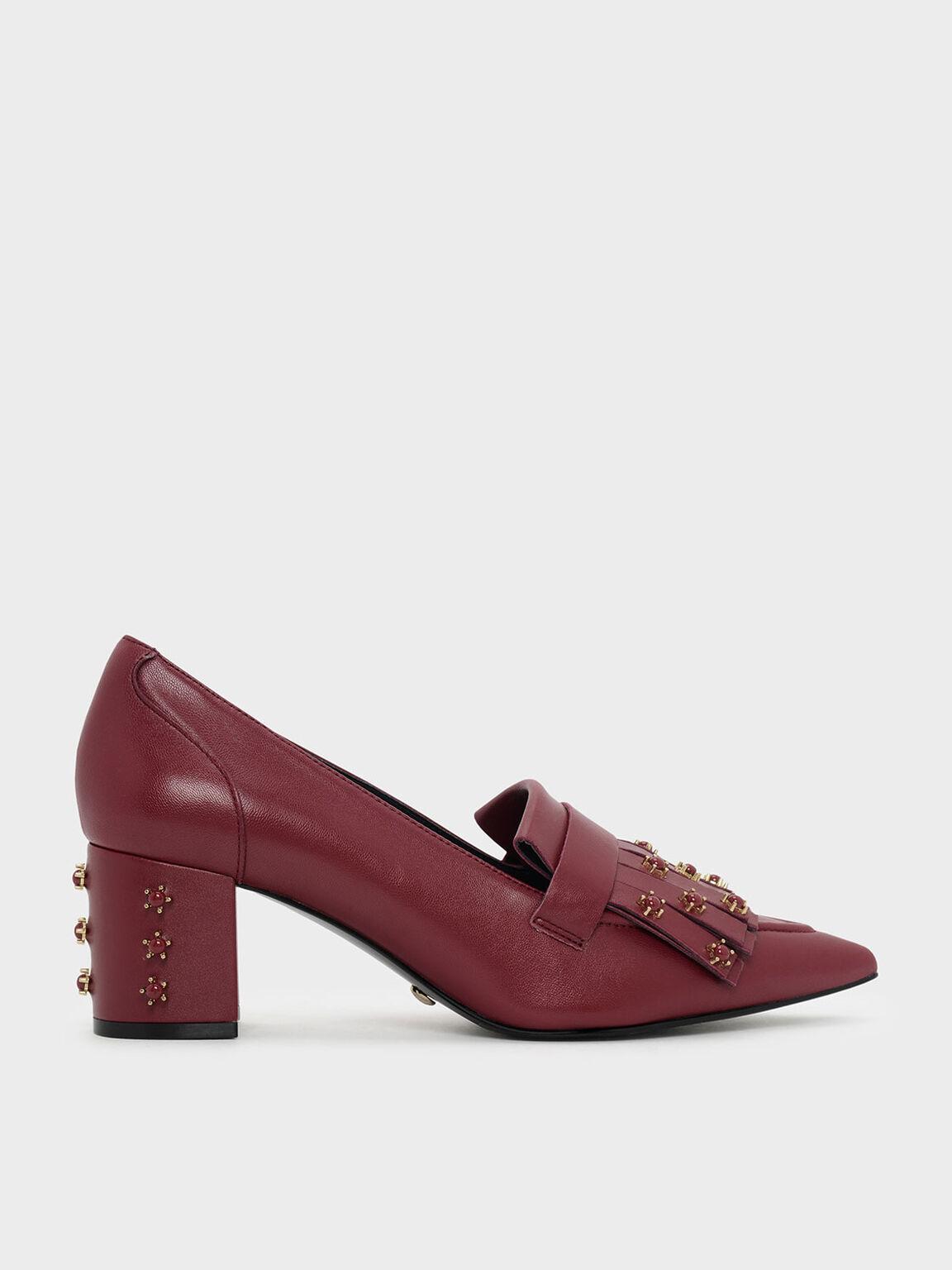 Embellished Leather Moccasins, Red, hi-res