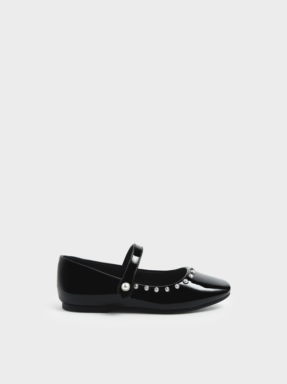 Girls' Embellished Trim Patent Mary Jane Flats, Black, hi-res