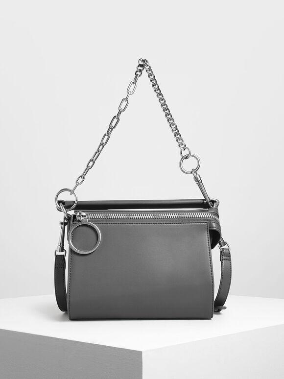 Ring Zip Bag, Grey, hi-res