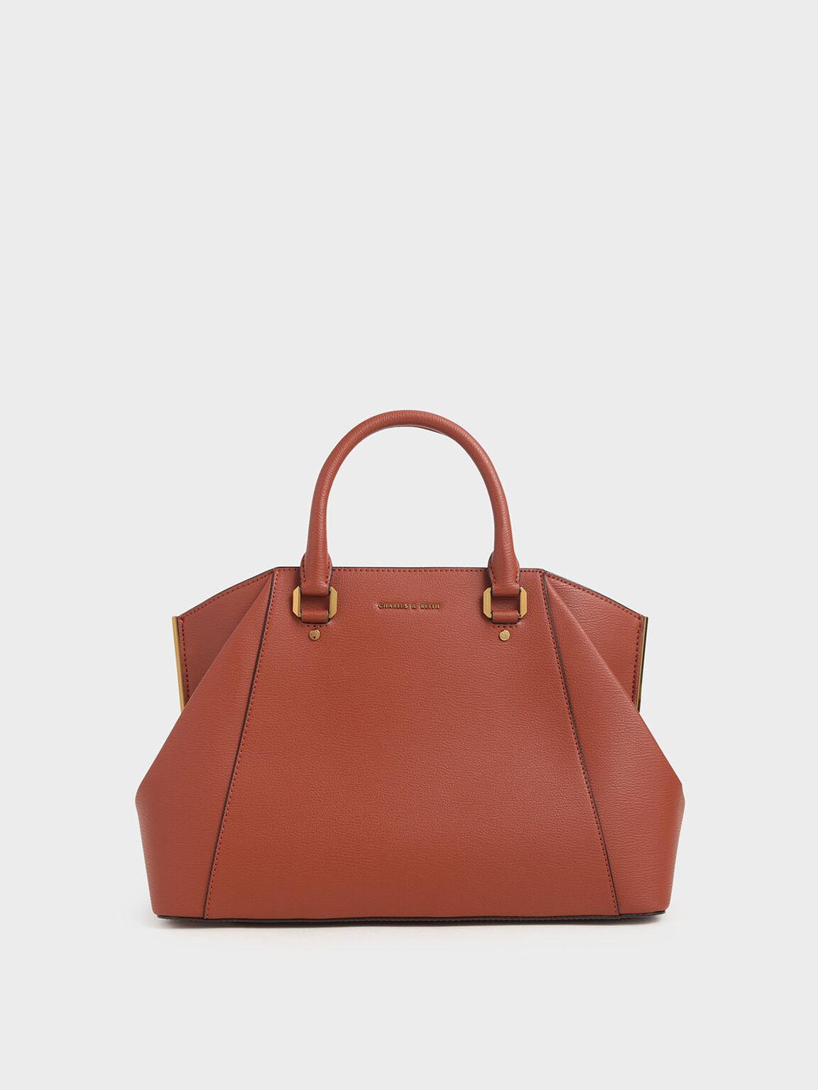 Large Geometric Top Handle Bag, Clay, hi-res