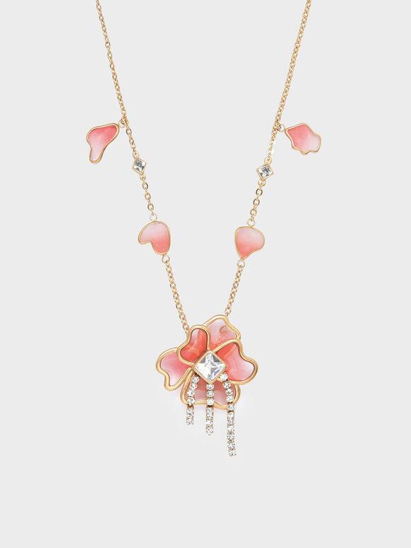 Crystal & Acrylic Petal Necklace, Pink, hi-res