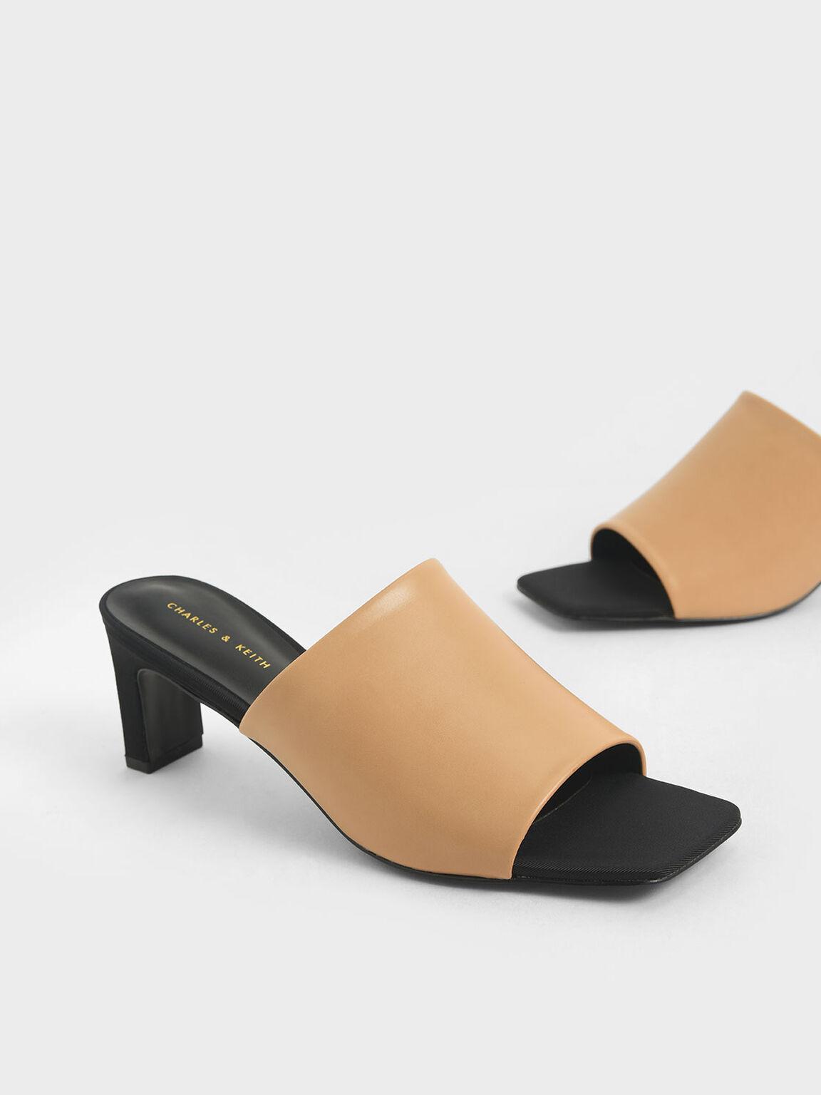 素面中跟拖鞋, 米黃色, hi-res