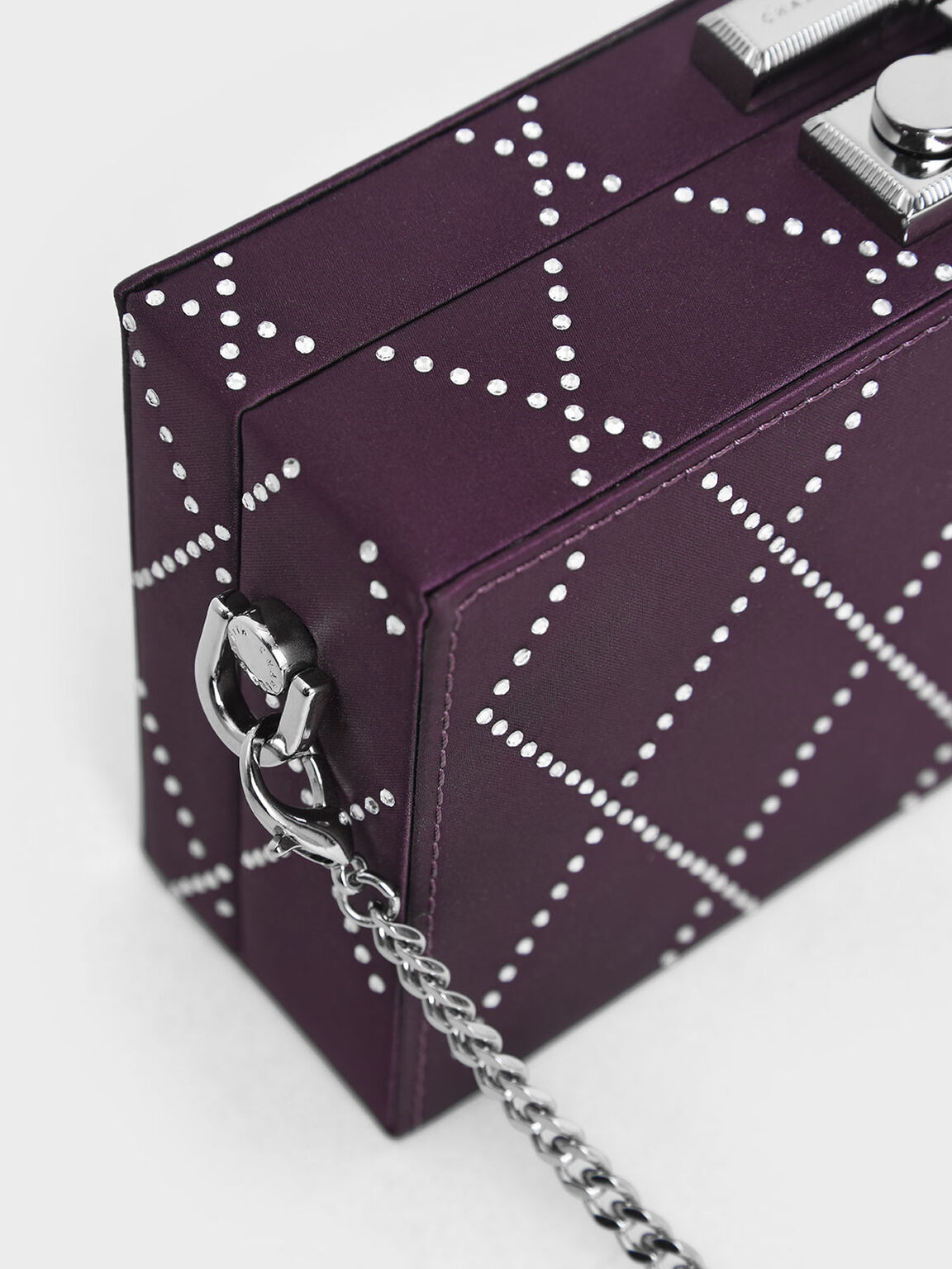 Satin Embellished Clutch, Purple, hi-res
