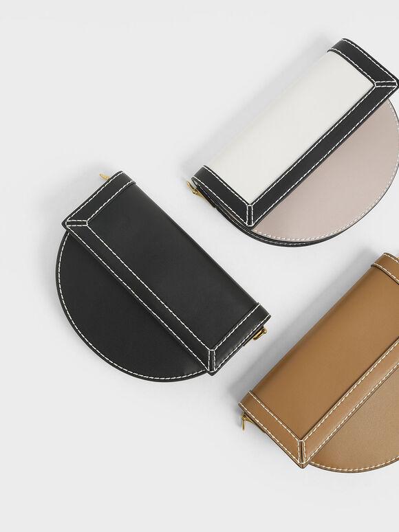 Front Flap Semi-Circle Crossbody Bag, Black, hi-res