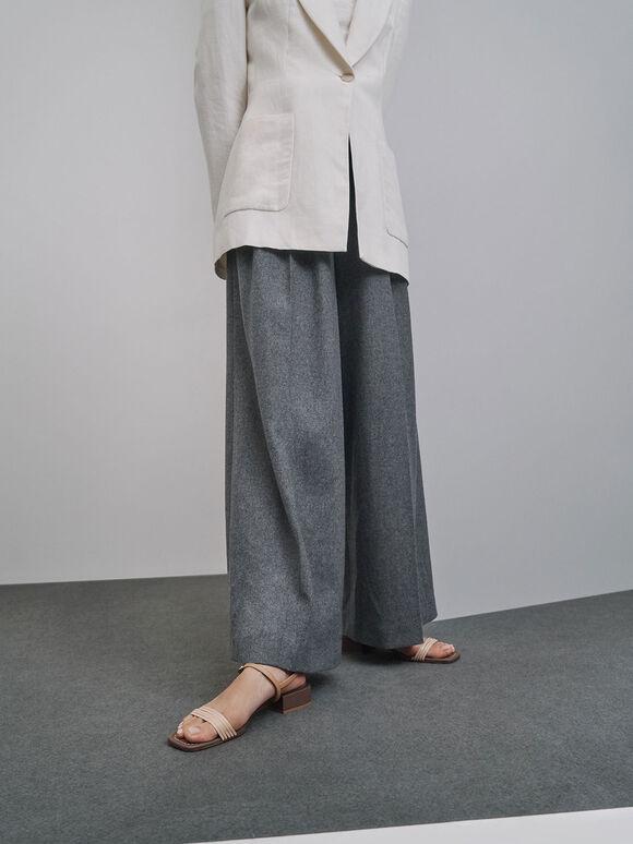 Open Square Toe Heeled Sandals, Dark Brown, hi-res