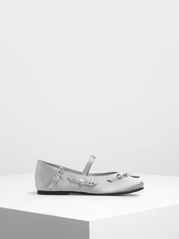 Girls' Bow Embellished Satin Mary Janes, Silver, hi-res