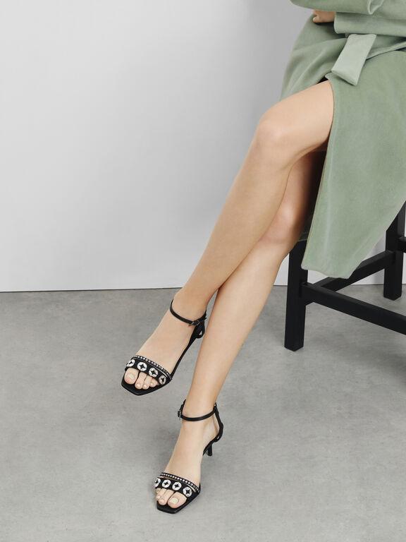 Leather Bedazzled Kitten Heel Sandals, Black
