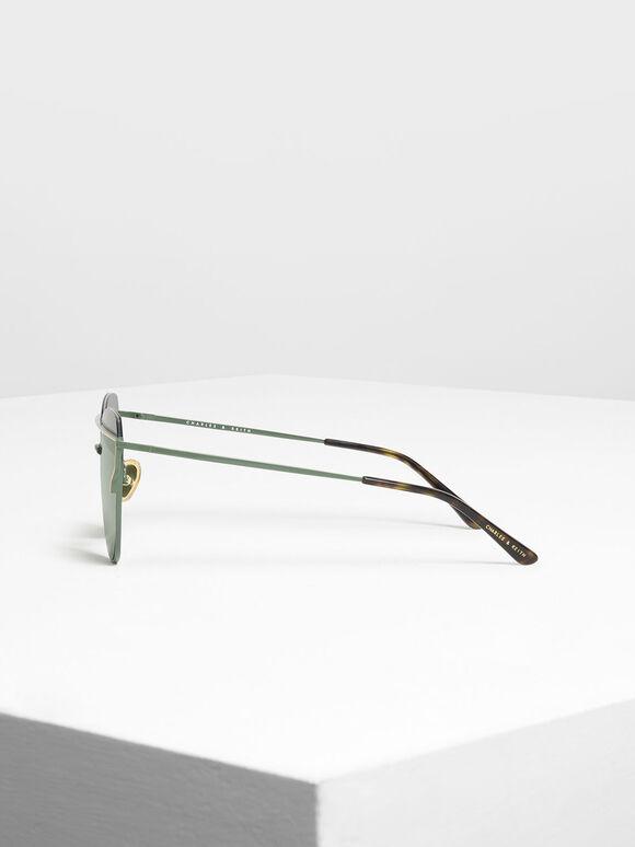 Wire Frame Aviator Sunglasses, Olive, hi-res