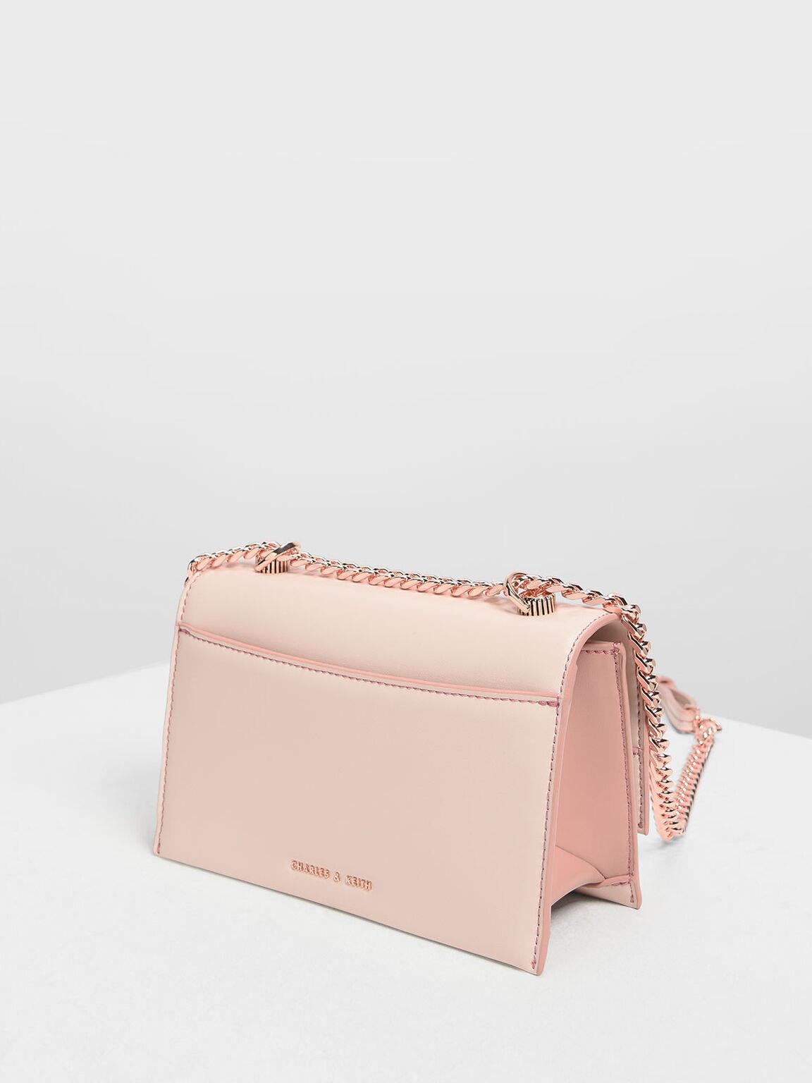 Chain & Strap Push Lock Shoulder Bag, Light Pink, hi-res