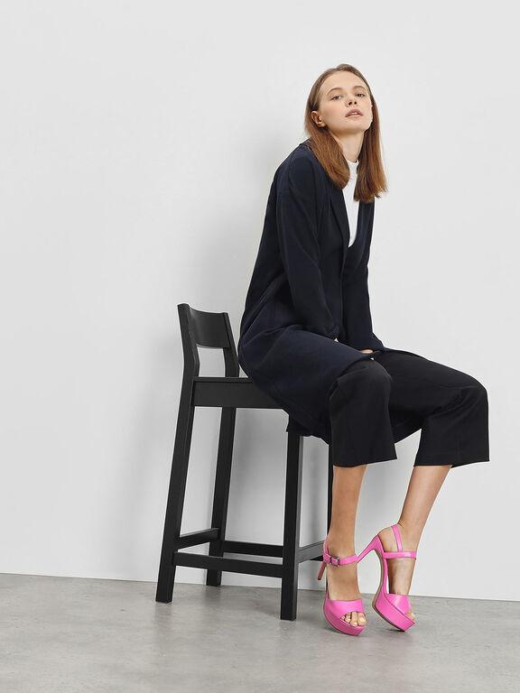 Classic Open Toe Platform Heels, Fuchsia