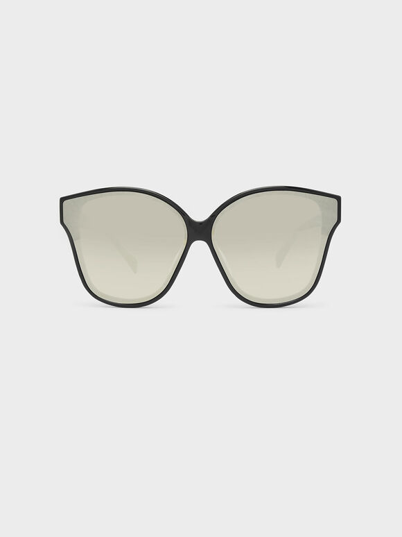 Acetate Frame Sunglasses, Black, hi-res