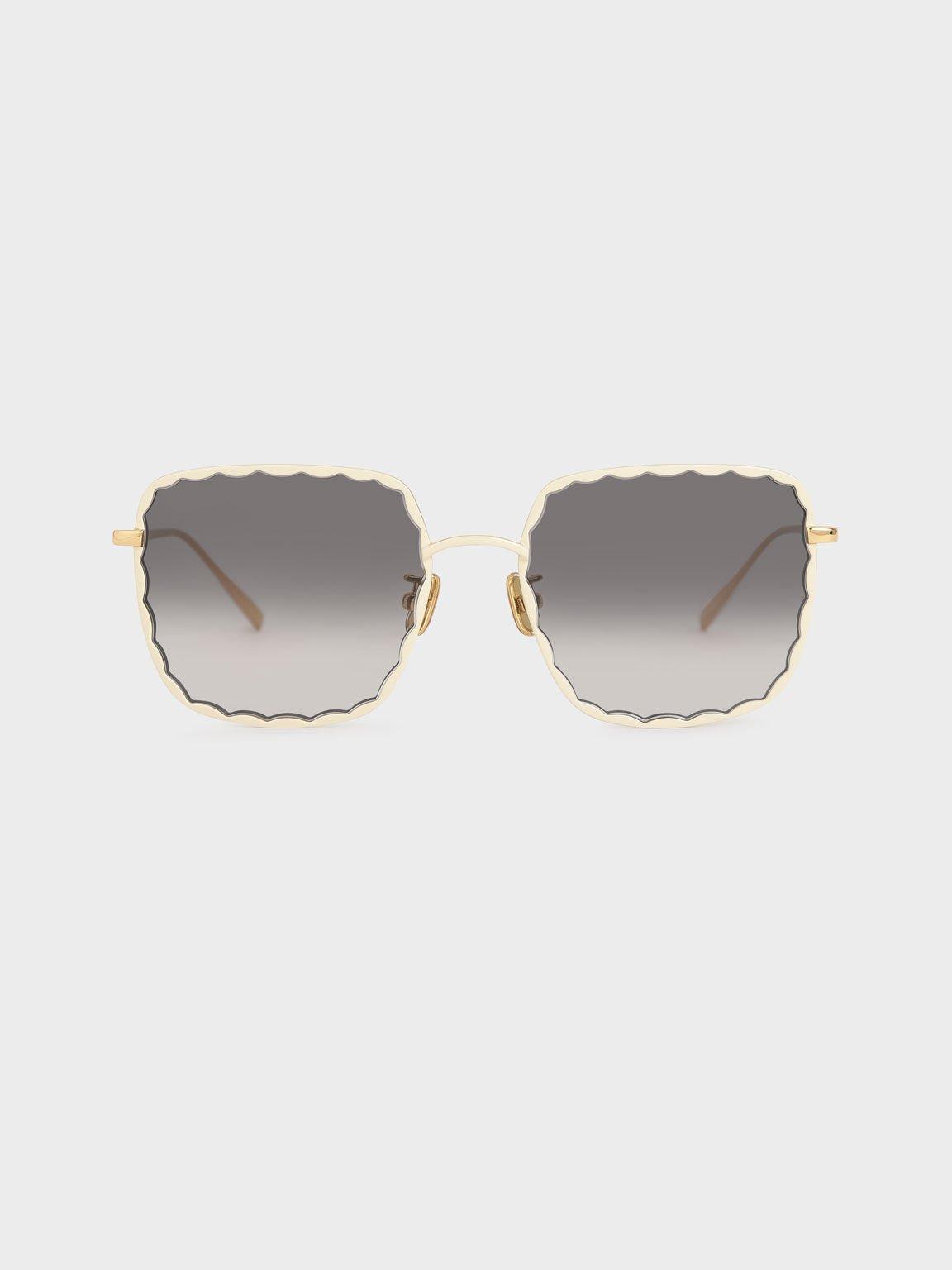 Scallop Trim Butterfly Sunglasses, Cream, hi-res