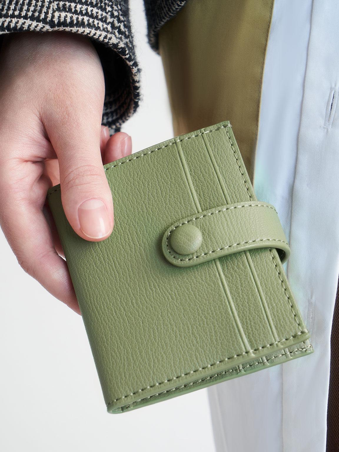 Snap Button Card Holder, Sage Green, hi-res
