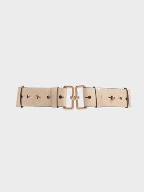 Croc-Effect Double Buckle Waist Belt, Beige